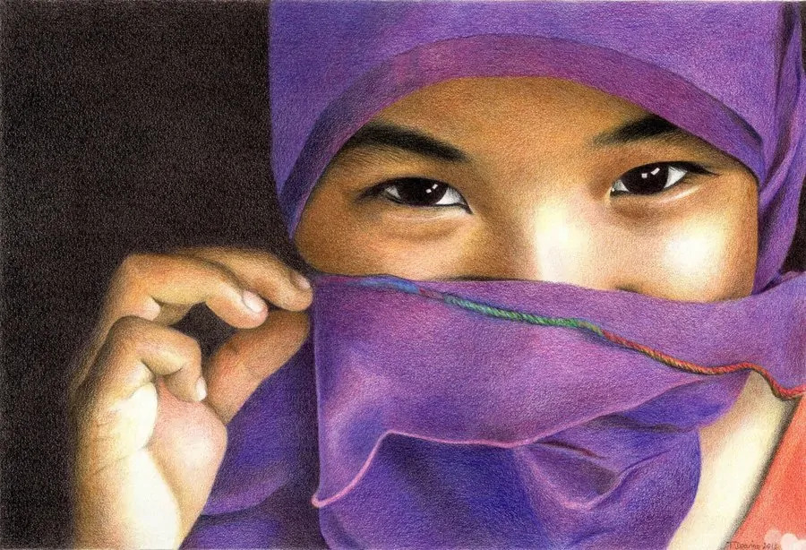 The_Violet_Veil_Coloured_Pencil_Portrait_Tamsin_Dearing_Copyright_2019