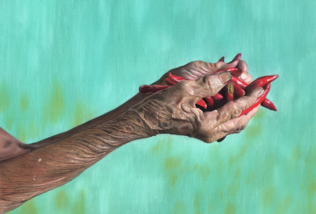 A_Handful_of_Chillies_Pastel_Tamsin_Dearing_Copyright_2021